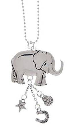 "Amazon.com: Cool & Custom {7"" Chain Hang} Single Unit of Rear View Mirror Hanging Ornament Decoration Made of Zinc Alloy w/ Wildlife Shiny Safari Animals Giant Elephant Design [Porsche Silver Colored]: Automotive"