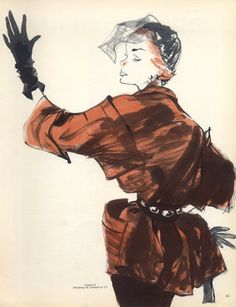 Paquin 1950 Guy Demachy Fashion Illustration