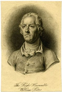 Portrait of William Pitt, bust directed and looking to the left, with short hair, wearing coat and neckerchief tied in a bow; vignette. Stipple with some etching Producer name Print made by: Anonymous. Britishmuseum.org