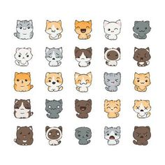 Cute cartoon cats and dogs with different emotions Sticker collection Vector set of doodle emoji and emoticons - 85276140 Cute Cat Drawing, Cute Animal Drawings, Cute Drawings, Chat Kawaii, Kawaii Cat, Cartoon Mignon, Cat Emoji, Cat Emoticon, Cute Cartoon