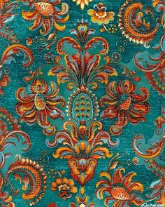 fabric clay & teal - Yahoo Search Results - Best Wallpaper Textures Patterns, Fabric Patterns, Print Patterns, Motifs Textiles, Boho Home, Orange And Turquoise, Teal Blue, Teal Colors, Colour Schemes