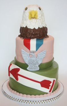A very cool Scouting themed cake. Recognizing the Order of the Arrow and Eagle Scouts!
