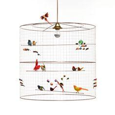 Large Two-Tier La Volière Bird Cage Pendant by Mathieu Challières Birdcage Chandelier, Pendant Chandelier, Pendant Lighting, Birdcage Light, Vintage Opulence, Magazine Deco, Contemporary Bedroom, Contemporary Wallpaper, Modern Contemporary