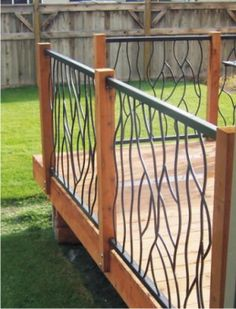 Wrought Iron Deck Railing in a Random Bent Design Metal Deck Railing, Deck Railing Design, Patio Railing, Deck Stairs, Deck Design, Railing Ideas, Wrought Iron Railings, Metal Roof, Balustrades