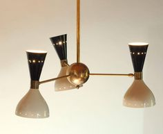 """Three-Arms Chandelier, Black  Ivory Pivoting Heads, Patinated Brass 