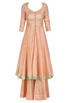 Peach and gold foil work kalidaar kurta with sharara pants available only at Pernia's Pop Up Shop.