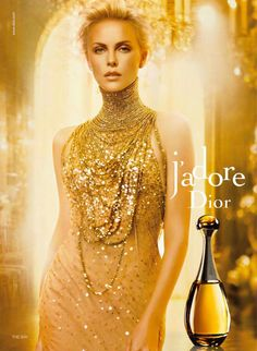 """Charlize Theron J'Adore """"Christian Dior"""" Eau De Toilette Parfum Perfume Fragrance Advert 2011 2012 2013 Ad Campaign Bottle Gold Dress Chandelier Necklace Scent"""