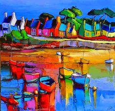 Colour the harbour with brightness . By American artist Eric Le Pape Eric Le Pape, Mediterranean Paintings, Boat Art, Landscape Artwork, American Artists, Impressionism, Amazing Art, Street Art, Abstract Art