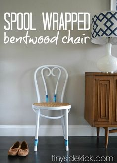Spool Wrapped Bentwood Chair: Easy update for a vintage chair that gives it just a pop of color. ||  TinySidekick.com #bentwood #vitnagefurniture
