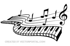 Keyboard and Music Notes Vector Image - Cool Pic Note Music, Music Note Logo, Music Notes Art, Music Wall, Piano Music, Music Tattoo Designs, Music Tattoos, Machine Silhouette Portrait, Tattoo Painting