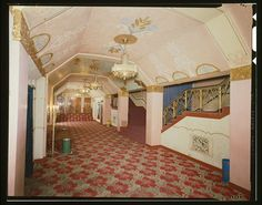 INTERIOR VIEW OF THE LOBBY LOOKING TO THE WEST SHOWING THE STAIRS LEADING TO THE BALCONY SEATING AREA. - Anaconda Historic District, Washoe Theater, 305 Main Street, Anaconda, Deer Lodge County, M