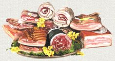 Vari tipi di PANCETTA - La pancetta è un salume di suino preparato con la parte della pancia dell'animale. Non fa parte della categoria dei salumi insaccati, ma dei prodotti salati o  dei salumi crudi stagionati , in quanto preparata da tagli di carne intere e non da carne tritata. La pancetta di maiale è così tanto diffusa in Italia da essere inoltre inserita nell'elenco dei prodotti agroalimentari tradizionali di ben 12 Regioni.