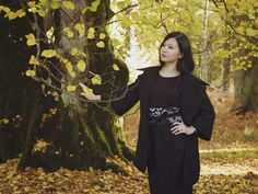 Lost in New Forest - a miniature oriental world - photo shooting in New Forest, London featuring slow fashion designer YUAN. Get the Asymmetrical coat and the matching High waist pencil skirt from the designers' autumn winter collection. | On Slowness blog