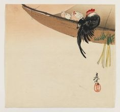 Shibata Zeshin (Japanese, 1807-1891). Hens and Cock with Hammock, ca. 1880. Woodblock color print, 9 3/8 x 9 7/8 in. (23.8 x 25.1 cm). Brooklyn Museum, Gift of the Estate of Dr. Eleanor Z. Wallace, 2007.32.103 (Photo: Brooklyn Museum, 2007.32.103_IMLS_PS3.jpg)