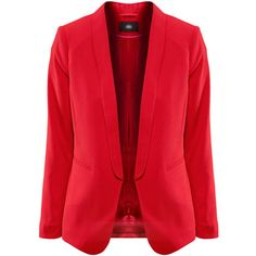 Red Lapel Open Front Basic Blazer ($59) ❤ liked on Polyvore featuring outerwear, jackets, blazers, red jacket, collar jacket, open front blazer, lapel blazer and lapel jacket