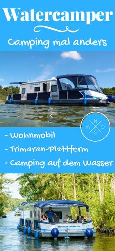 Camping auf dem Wasser: Vom Wohnmobil zum Floß Camping on the water – an extraordinary and completely new camping experience. With the motorhome or caravan just sail out to the lake. You want to know how that works? Camping 3, Camping Places, Winter Camping, Camping Checklist, Camping World, Camping Essentials, Camping With Kids, Family Camping, Outdoor Camping