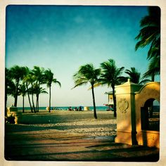 Hollywood Beach, Florida. I've been in this exact spot. I love the broad walk! There's a great pizza & ice cream shop I always go to when I go here.