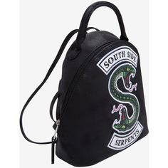 Riverdale South Side Serpents Mini Backpack Hot Topic Exclusive ($5.99) ❤ liked on Polyvore featuring bags, backpacks, patch backpack, leather backpacks, mini bag, day pack backpack and mini zip backpack