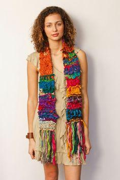 Vibrant, bulky, funky and chunky boho silk scarf - knit multi color red silk sari boho exotic scarf. $50.00, via Etsy.