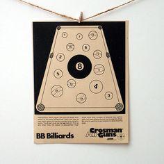 Vintage Paper Shooting Targets - BB Billiards Game
