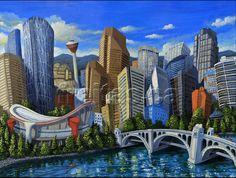 miguel freitas art | Freitas Art, Calgary skyline, whimsical Limited Edition Giclee print