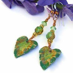 Tropical Leaf Handmade Earrings Green Yellow Brass Amber Glass Jewelry | ShadowDogDesigns - Jewelry on ArtFire http://www.artfire.com/ext/shop/product_view/9878933