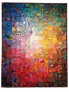 Kaffe Fassett colorwash quilt by Wanda Hanson Batik Quilts, Scrappy Quilts, Watercolor Quilt, Charm Quilt, Rainbow Quilt, Quilt Modernen, Colorful Quilts, Hexagon Quilt, Quilt Tutorials
