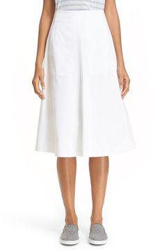T by Alexander Wang Stretch Cotton A-Line Midi Skirt