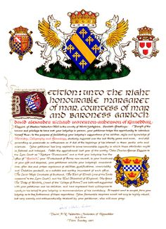 Illuminated petition to the Countess of Mar seeking appointment to the Office of Garioch Pursuivant of Arms.