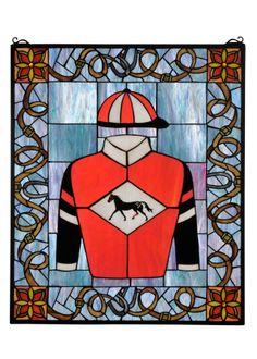 Jockey silks stained glass window