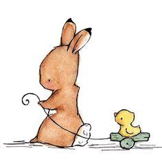 Children's Art Print Bunny And Duck   5x7 by trafalgarssquare, $8.00