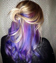 Hair purple peekaboo color highlights 24 best ideas - All For Hair Color Balayage Blonde Brown Hair Color, Purple Hair Streaks, Blue Hair Highlights, Hair Color Purple, Cool Hair Color, Colored Highlights, Brown Hair Colors, Peekaboo Highlights, Violet Hair