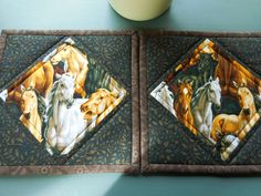Quilted Pot Holders/Hot Pads Horse Theme Fabric Brown, Beige by RubysQuiltShop on Etsy