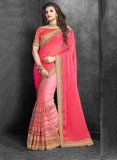 Embroidered Net Traditional  Saree in Pink