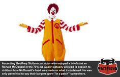 Ronald McDonald Wasn't Allowed to Eat McDonald's - http://www.factfiend.com/ronald-mcdonald-wasnt-allowed-to-eat-mcdonalds/