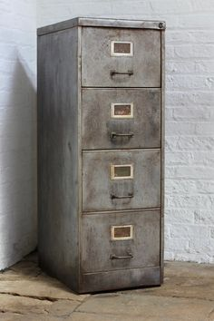 Mikk Reclaimed Vintage Urban Industrial 1940s Stripped Steel 4 Drawer Filing…