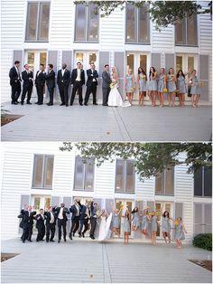 I love the different colors! White (bride), Light Grey (bridesmaids), Dark Grey (groom), and Black (groomsmen)