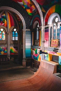 This amazing project entitled Kaos Temple was conducted in an old Spanish church in the city of llanera, transformed this year into a skate park by La Iglesia Skate. This monumental and colorful artwork by the artist Okuda was designed in collaboration wi