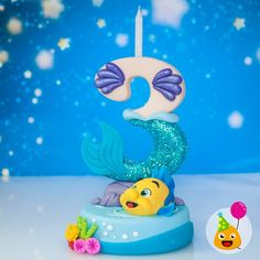 Little Mermaid cake topper; Large number Candle holder customized in cold porcelain - Birthday Cake Blue Ideen Little Mermaid Cake Topper, Little Mermaid Birthday, Little Mermaid Parties, The Little Mermaid, Number Cake Toppers, Wedding Cake Toppers, Fondant Toppers, Fondant Cupcakes, Cupcake Toppers