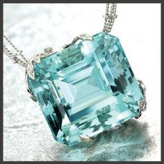 Aquamarine pendant, 60.00 carats, set in hand-fabricated platinum leaves, pave set diamonds, designed by Janet Deleuse      http://shopdeleuse.com/products/aquamarine-pendant