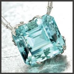 Aquamarine pendant, 60.00 carats, set in hand-fabricated platinum leaves, pave set diamonds, designed by Janet Deleuse      http://shopdeleuse.com/products/aquamarine-pendant