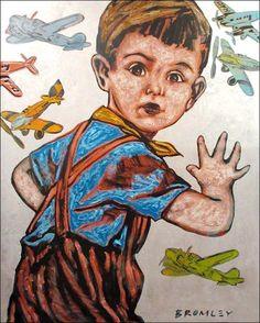 "DAVID BROMLEY ""Boy and Planes"" Acrylic & Silver Leaf on Canvas, Signed 150cm x 120cm"