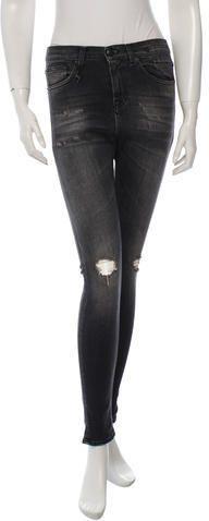 Distressed Skinny-Leg Jeans w/ Tags Skinny Jeans, Tags, Denim, Stylish, Grey, Women, Fashion, Gray, Moda