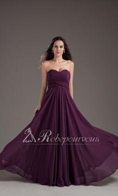 Robe de Soiree Longue Col en Coeur Violette RPV0073