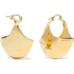 Acne Studios Nanni gold-plated earrings ($445) ❤ liked on Polyvore featuring jewelry, earrings, clasp earrings, gold plated earrings, gold plated jewelry, acne studios and earring jewelry