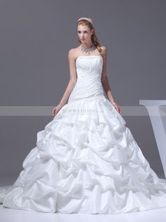 Pleated One Shoulder Deluxe Pick Up A Line Wedding Dress