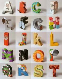 Papertoy alphabet you can download, print, trim and fold for free.