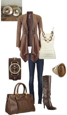 "I love every thing about this outfit!  ""Lots of brown"" by kaybraden on Polyvore"