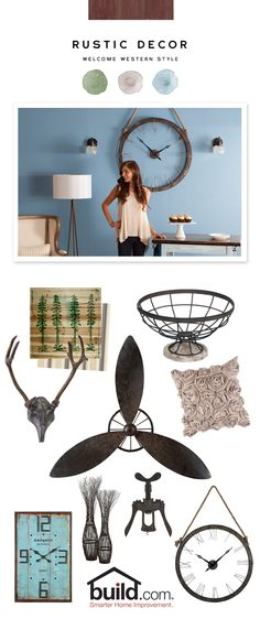Let time-tested style influence your modern muse with our broad selection of rustic décor. Use wall art, pillows, clocks and color to add a homey spin on your space.