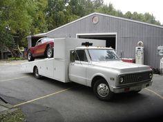 Car hauler and Corvette race car